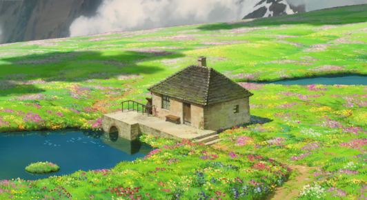 howl's moving castle flower garden scene
